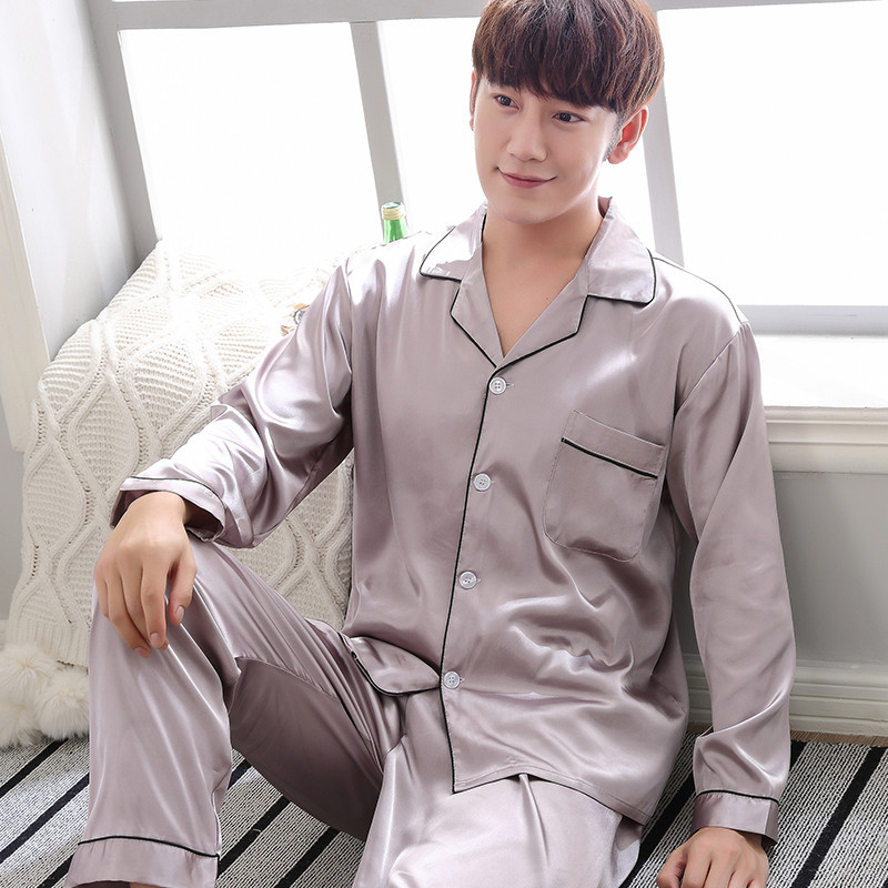 Oversize 3XL Male Nightwear Rayon Satin Men Pajama Pyjama Set Spring Summer Shirt&Pants 2PCS Sleepwear Silky Home Clothes