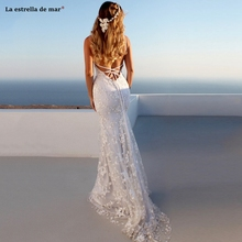 Robe de mariee new sexy V neck lace Spaghetti Straps white mermaid beach wedding dress trailing boho abito da sposa