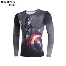 Moto Mens Clothing Fitness t shirt 3D Superman/Captain America Long Sleeve tights T-Shirt Men Crossfit Compression