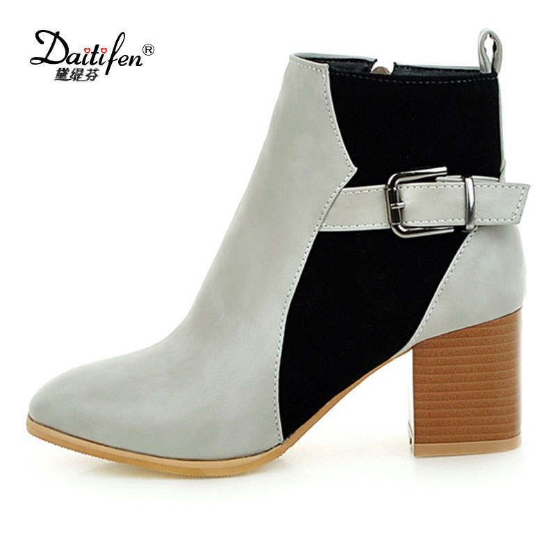 Daitifen New Arrival Fashion Thick High Heels Boots Women Platform Slip On Hot Sale Motorcycle Mixed Color Winter Snow Shoes 2017 new arrival hot sale women boots solid bowtie slip on soft cute women snow boots round toe flat with winter shoes wsz31