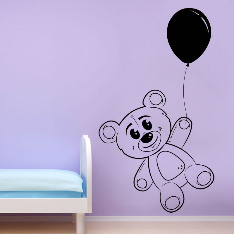 Dctop Cute Balloon And Teddy Bear Wall Sticker Baby Room Removable