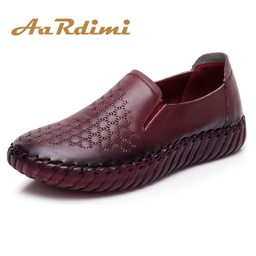AARDIMI 100% Genuine leather Women Shoes Casual Spring Flats Shoes Retro Slip On Solid Ladies Loafers Flat Shoes Woman de la chance women fashion platform shoes genuine leather slip on casual shoes loafers flatform wedge shoes skate ladies shoes