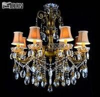 Bronze Finished Antique Crystal Chandelier Lingting Luxurious Brass Crystal Lamp Lustre Suspension Light MD8504 L8 D750mm H750mm