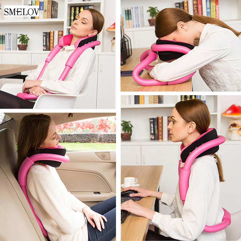 creative adjustable neck massage pillow memory foam ergonomic travel pillow u shaped car office home airplane nap pillow body image