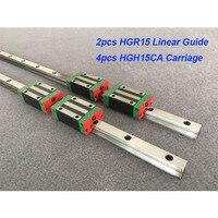 2pcs HGR15 1200mm 1300mm 1500mm + 4pcs HGH15CA or HGW15CA linear block carriage CNC parts