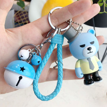2019 PVC Leather Rope bell Key chain Cartoon Explosive bear Keyrings Chains Jewelry Porte Clef 3D Pendant