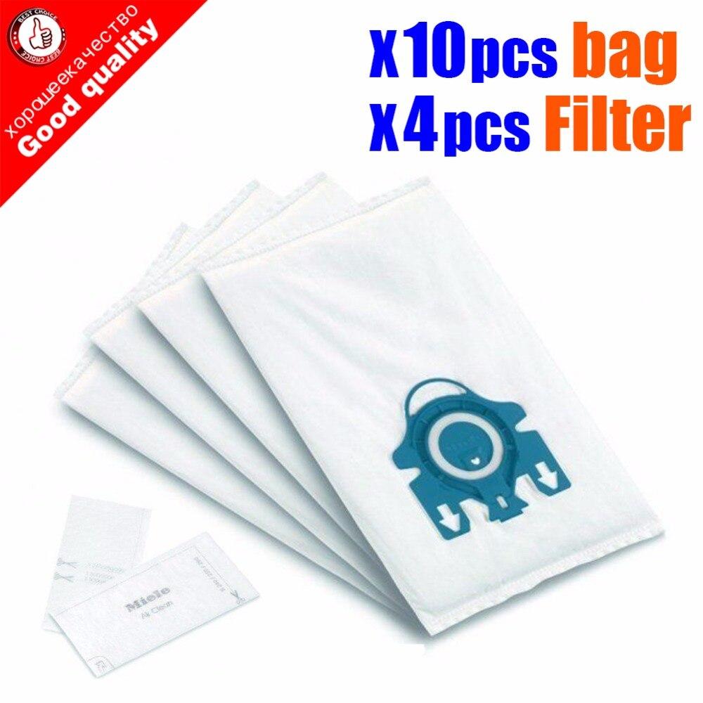 10 stks/partij Voor Miele Type GN Deluxe Synthetische Vacuüm & 4 Filters S2 S5 S8 C1 C3 Hepa Stofzuiger STOF ZAKKEN Met FILTERS