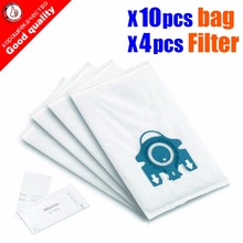 10Pcs/Lot For Miele Type GN Deluxe Synthetic Vacuum & 4 Filters S2 S5 S8 C1 C3 Hepa Vacuum Cleaner DUST BAGS With FILTERS