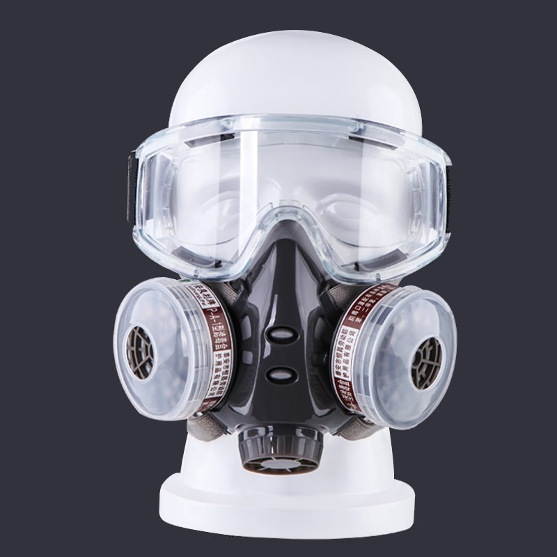 New Dust Gas Protective Mask With Safety Goggles Dual Filters Chemical Respirator For Spraying Painting Factory Industry Use