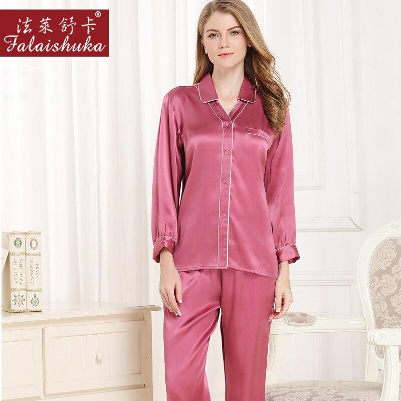 Otoño Women100 % de satén de seda conjuntos de pijama 2019 de manga larga de color sólido ropa de dormir conjunto de dos piezas de gran tamaño L-2XL pijamas de 4 colores - 3