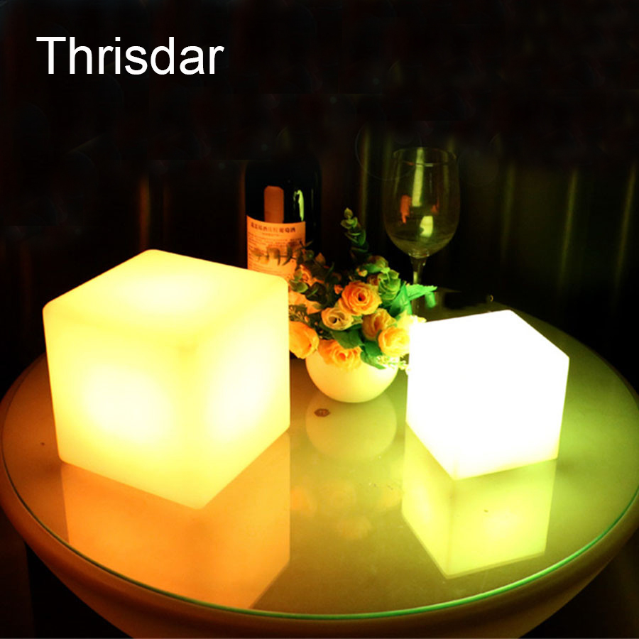 Com buy 10cm cube decorative battery operated rgb led table lamps - Thrisdar Rgb Rechargeable Led Cube Table Light With Remote Control 16 Color Light Changes Party