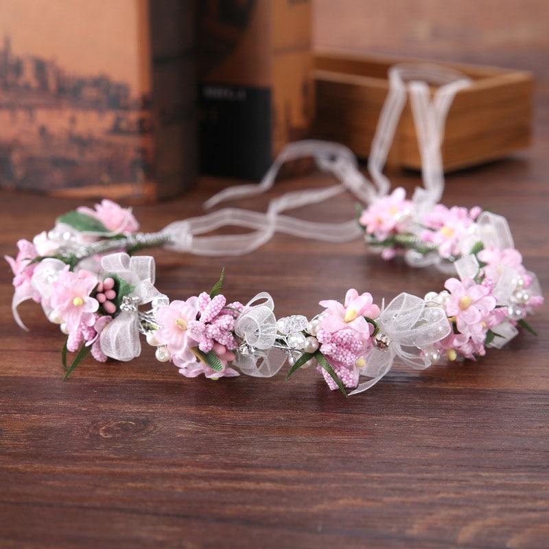 Colorful Crystal Wreath Flower Halo Pearl Bridal Floral Crown Hair Wreath Wedding Headpiece Mermaid Wreath for Women&Girls SL