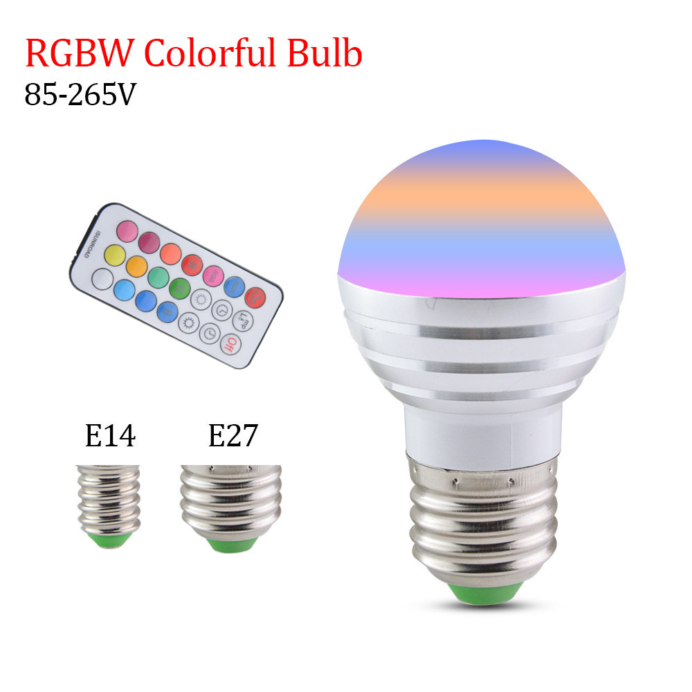 New Year Christmas Holiday Lights RGB + W LED Bulb Lamp 85-265V E27 E14 5W Energy Saving Lights for Indoor Decorating For Home