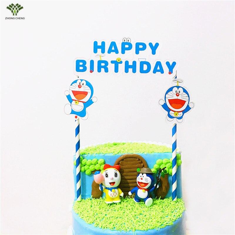 10 Pieces Doraemon Kucing Kue Topper Flag Baby Shower
