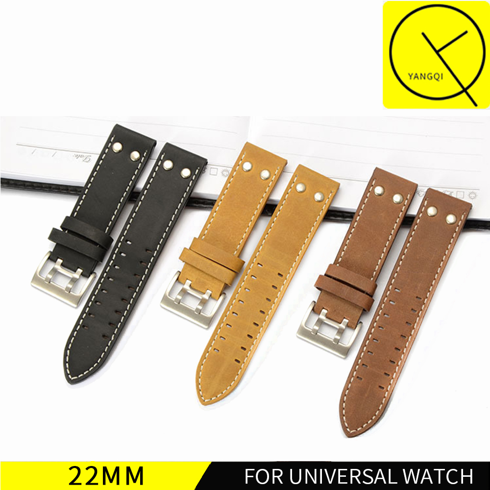 22mm Calf Genuine Leather Watch Band For Hamilton KHAKI FIELD for KHAKI AVIATION for Breitling for Universal Watches Strap Men istrap 22mm handmade genuine calf leather padded replacement watch band for men black 22