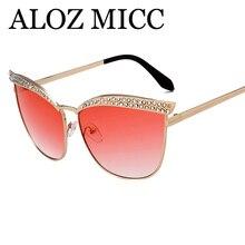 Фотография ALOZ MICC Fashion Women Diamond Cat Eye Sunglasses Trends Metal Frame Sunglasses Ocean Lady Sun Glasses UV400 Q146