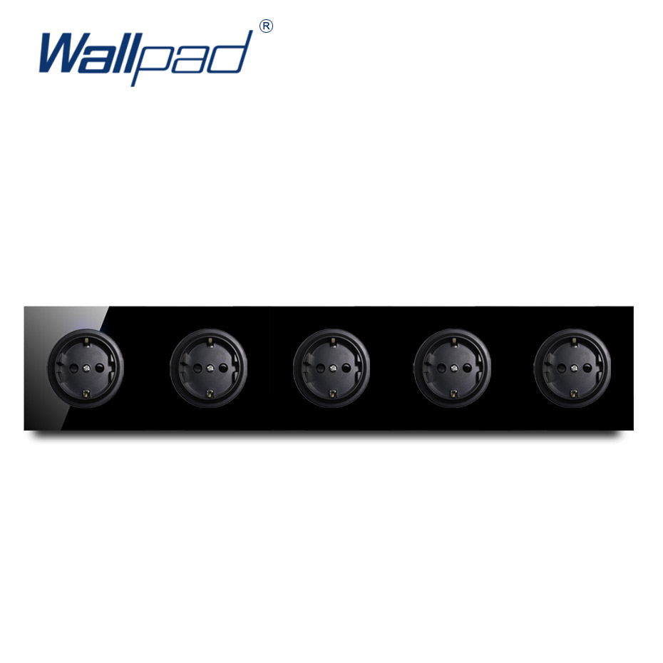 Wallpad Crystal Tempered Pure Black Glass Panel 16A 5 EU German Standard Wall Power Socket Outlet Grounded