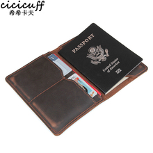 цены CICICUFF Vintage Genuine Cow Leather Passport Covers Card Holder Cowhide on Cover for Document Certificate Case Travel Wallet