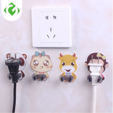 Cute Cartoon Power Wall Adhesive Plug Socket Holder Hanger Hook Home Decor Multi-Purpose Hooks Multiple types of plugs available(China)