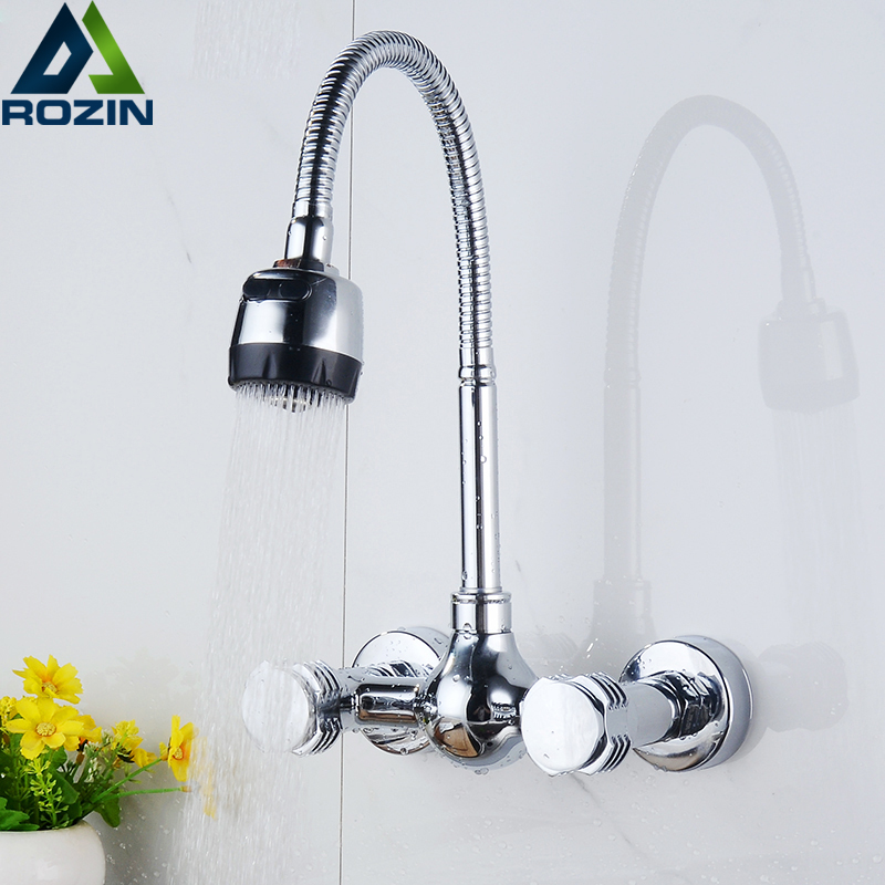 ⊱Walll Mounted Flexible Hose Dual Handle Kitchen Sink Faucet Chrome ...