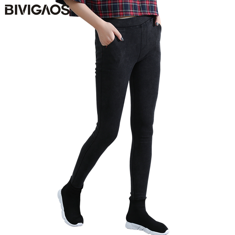 BIVIGAOS Slantende Pocket gewassen jeans Leggings Potlood broek Elastische denim legging Skinny jeans Jeggings damesbroek