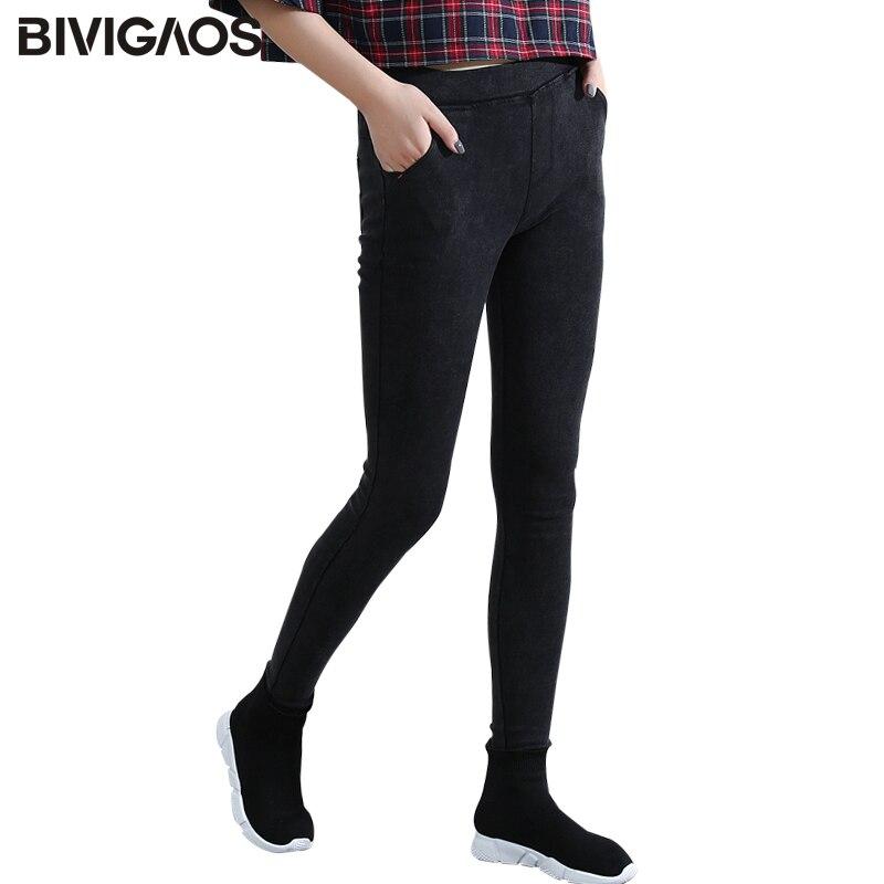 BIVIGAOS Для женщин косой карман потертые джинсы Леггинсы карандаш эластичные брюки джинсовые леггинсы облегающие джинсы Джеггинсы Для женщин брюки купить на AliExpress