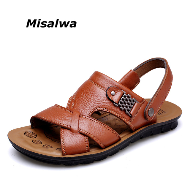 1a33151f8445b Misalwa Summer New Men Genuine Leather Sandals Big Size 37-47 Men Sandals  Slipper Breathable Casual Brown Beach Sandals 2018