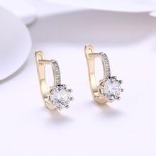Luxury Female Blue White Cubic Zircon Buckle Stud Earrings Women Rose Gold Color Earrings For Female Jewelry Wholesale