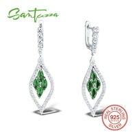 Silver Drop Earrings For Women Marquis Green Stone And White CZ Stone Women Earrings Pure 925