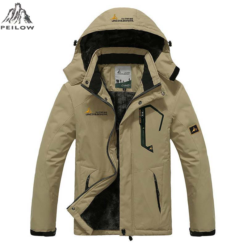 PEILOW Plus Größe 5XL, 6XL Outwear Wintermantel Herren und Damen verdicken wasserdichte Fleece-warme Baumwollparka-Manteljacke für Männer