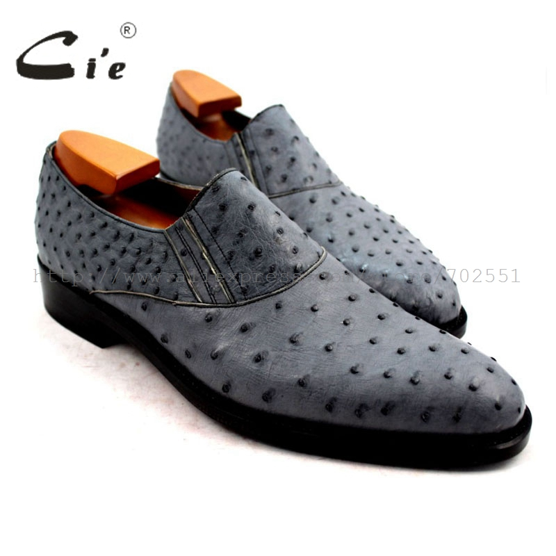 cie Free shipping calf leather outsole insole Geniune Bespoke handmade ostrich skin leather men s shoe