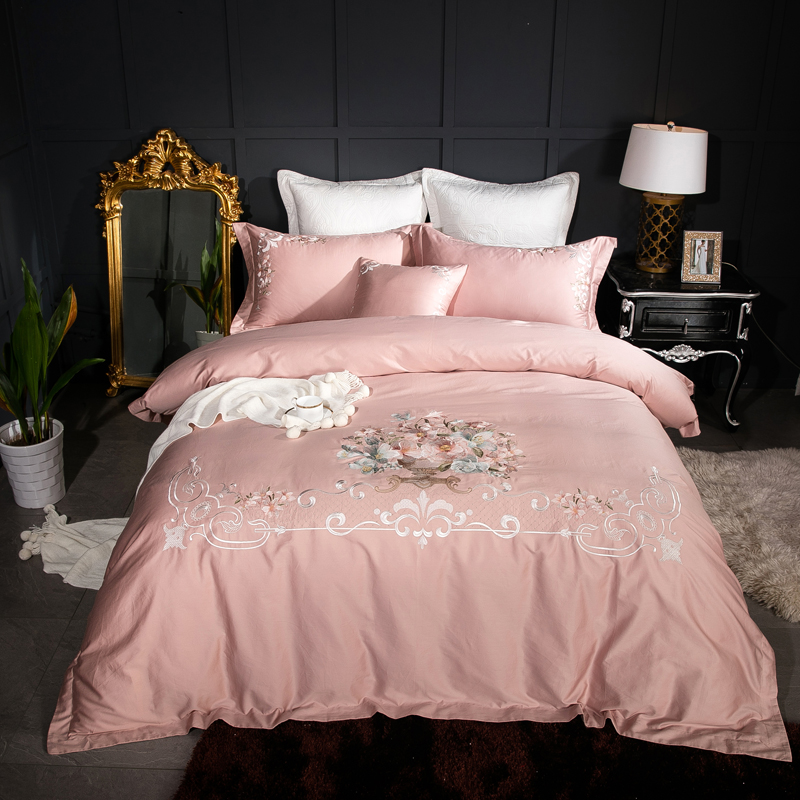 4 7pcs 100 Egyptian Cotton Modern Pink White Purple Bedding Set Embroidery Queen King Size Duvet Cover Bed Sheet Pillowcase In Sets From Home