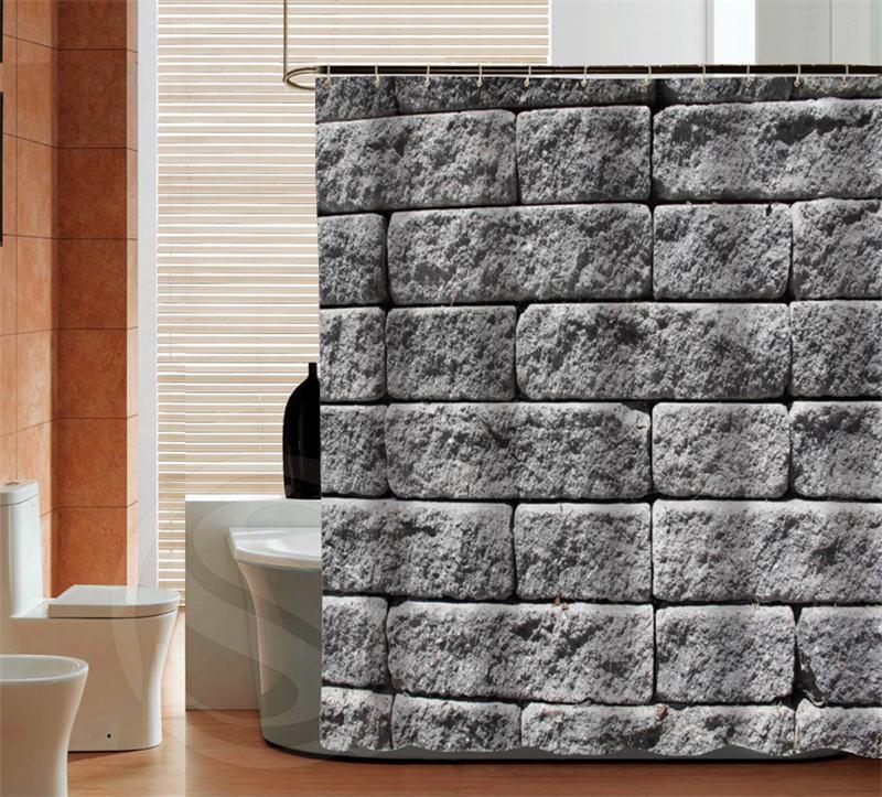 Moda Gris piedra de calidad personalizada Cortina de Ducha Cuarto de ...