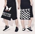 HOT New low cross-crotch pants tide personality men hip-hop loose casual skirt pant culottes black singer nightclub costumes