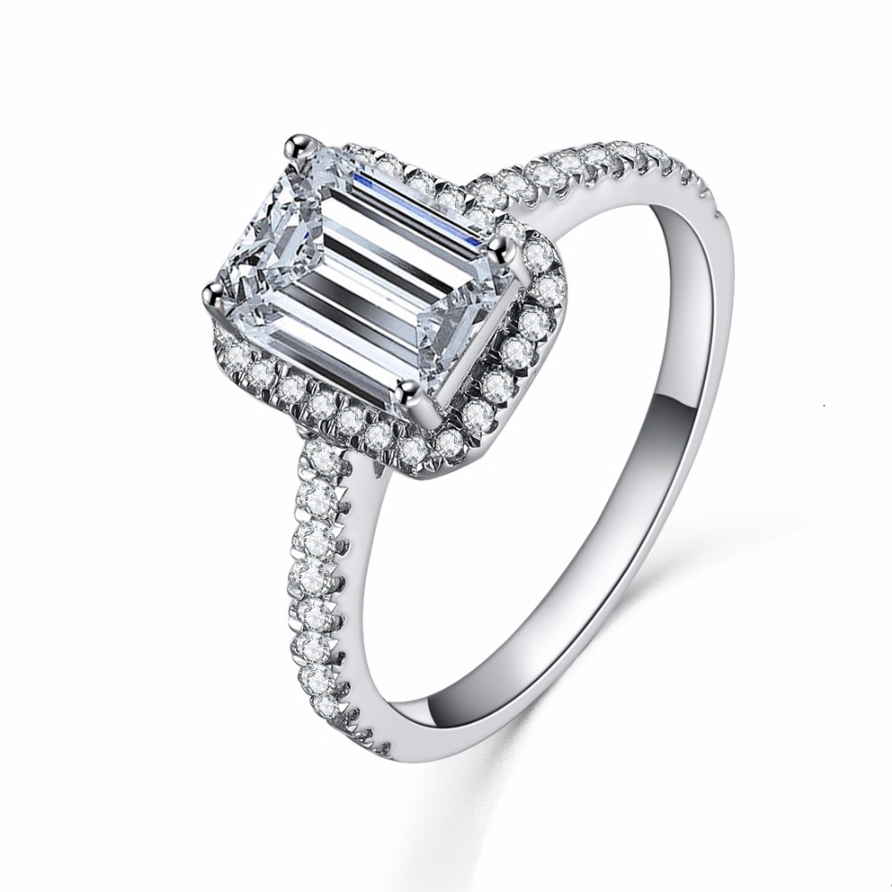 1ct Ring Sona Diamond Emerald Ring 925 Engagement For Women Sterling Silver  Jewelry 18k White Gold