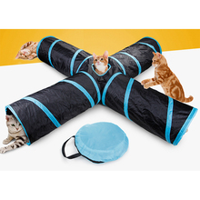 Funny Pet Tunnel Cat Play Brown Foldable 4 Ways Holes Kitten Toy Bulk Toys Rabbit