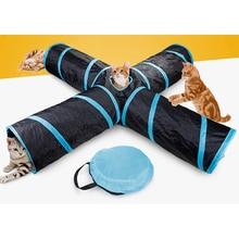 Funny Pet Tunnel Cat Play Brown Foldable 4 Ways Holes Kitten Toy Bulk Toys Rabbit