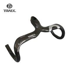 TMAEX 3K Carbon kierownica rowery szosowe kierownica rowerowa zintegrowana kierownica z trzpieniem części rowerowe srebrny błyszczący 400/420/440mm w Kierownice rowerowe od Sport i rozrywka na