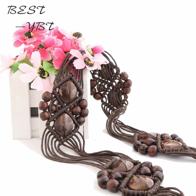 National Style Women   belts   Hand-woven   Belt   Wooden Beads Weaving Knotted Tassels woman Waist Chain Bohemia Female Ceinture Femme