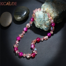 KCALOE Fine Jewelry 2017 Pink Austria Crystal Semi-Precious Chokers Necklaces Women Accessories Natural Onyx Stone Necklace(China)