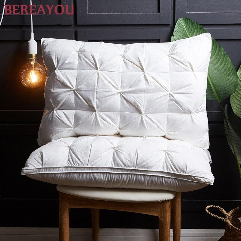 Oreillers de cou doux de luxe 100% vers le bas oreiller de coton pour hôtel maison sommeil cou soulagement de la douleur cervicale lit oreiller dormeur literie