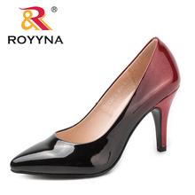 ROYYNA New Arrival moda styl kobiety pompy Pointed Toe damskie buty płytkie pani buty ślubne wygodne miękkie darmowa wysyłka tanie tanio Podstawowe Spike obcasy CN (pochodzenie) Super Wysokiej (8cm-up) Pasuje prawda na wymiar weź swój normalny rozmiar latex