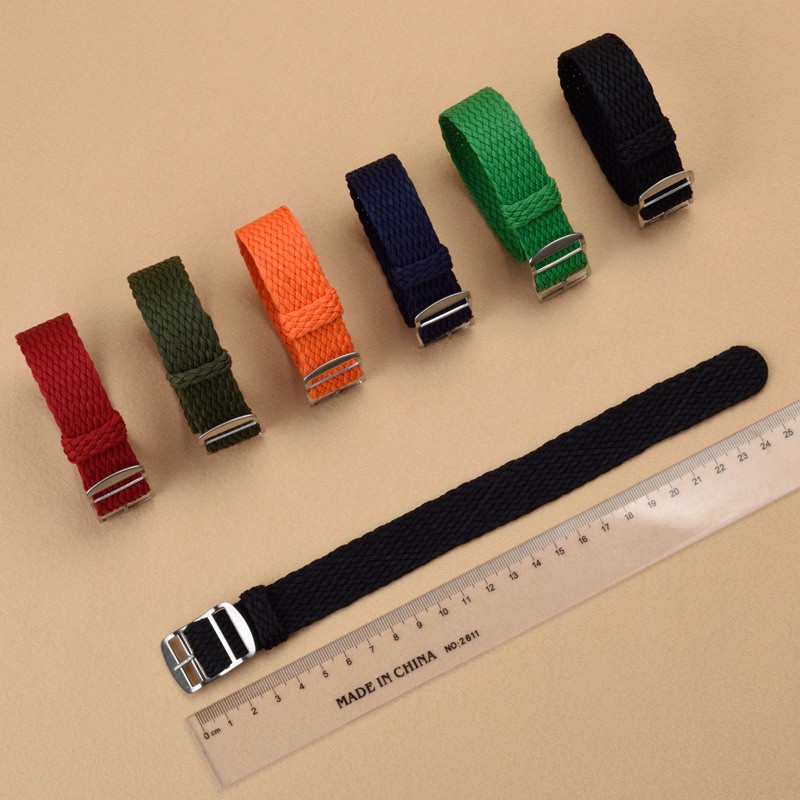 Wholesale 10 PCS/lot Watch Strap 20 22mm Watch Band Black Navy Blue Solid Color Perlon Woven Strap for Sport Watches Men Women
