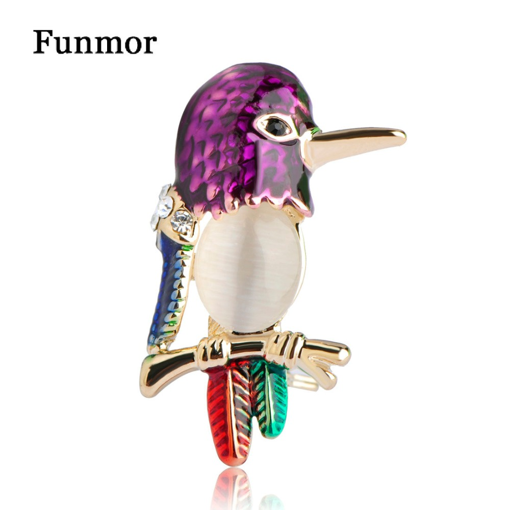 Vintage Anti Gold Opal Birds Brooch Cat Eye Stone Collar Clip Suit Lapel Pins Small Animal Brooches For Women Hat Dress Bijoux