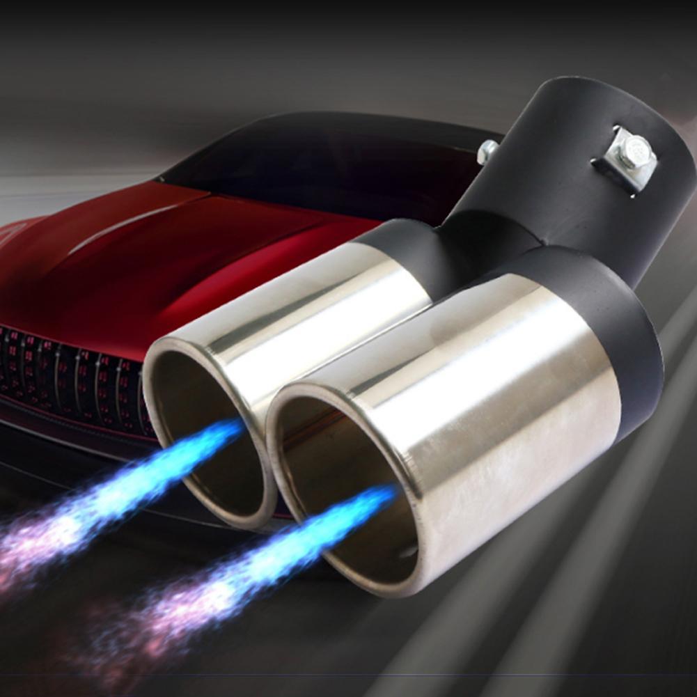 Tuyau de queue universel d'acier inoxydable de Double Tube de silencieux d'échappement de véhicule de voiture
