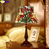 FUMAT Artistic Glass Table Lamp European Pastoral Stained Glass Green Dragonfly Wheat Living Room Bedroom Bedside Light Fixtures