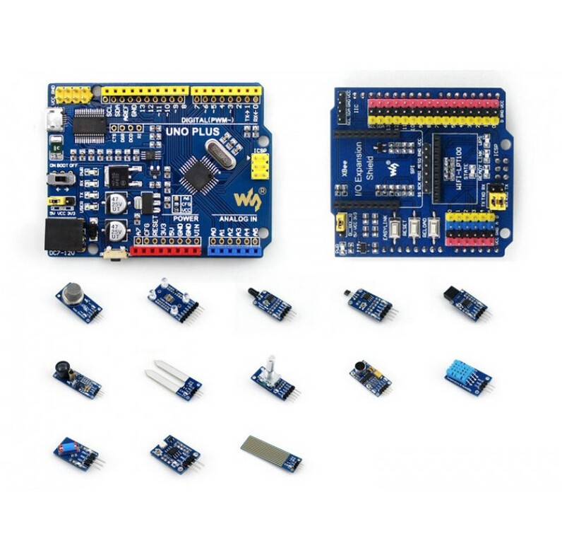 ATMEGA328P MCU Development Board Compatible with UNO R3 + IO Expansion Shield + Sensors Pack = UNO PLUS Package A open smart uno atmega328p development board for arduino uno r3