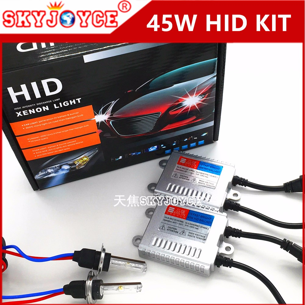 Fast bright xenon hid kit H7 H8 H11 8801 H27 9005 9006 H3 H1 hid conversion kit 45W 3000K-8000K for cnlight hid replacment (1)
