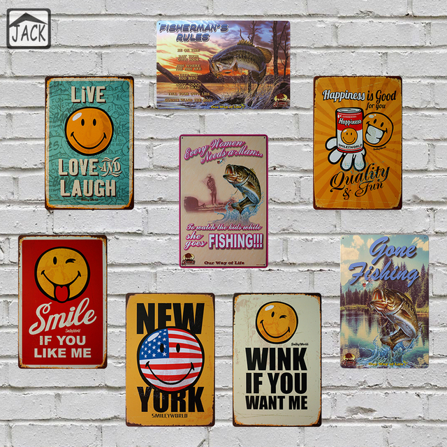 Aliexpress Buy Smiley Gone Fishing Vintage Metal Tin Signs Simple Gone Fishing Signs Decor