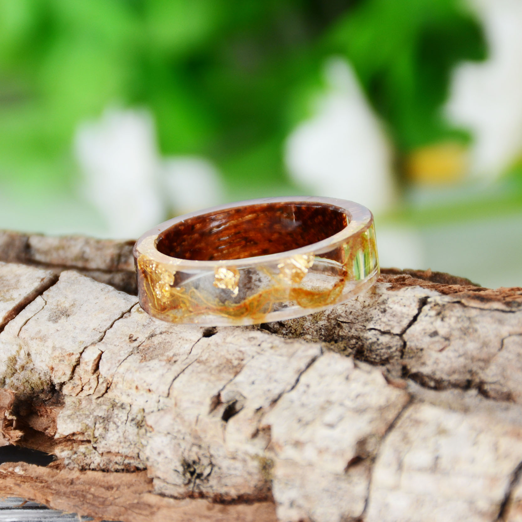 HTB1fB3onwZC2uNjSZFnq6yxZpXaR - Hot Sale Handmade Wood Resin Ring Dried Flowers Plants Inside Jewelry Resin Ring Transparent Anniversary Ring for Women